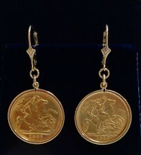 More details for fine antique edwardian half sovereign drop earrings 916 (22ct) gold -length 42mm