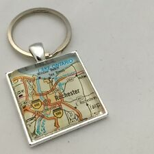 ROCHESTER NEW YORK LAKE ONTARIO Map Square key ring keychain ATLAS