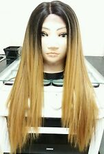 100% human hair blend wig, ombre, golden blonde, Brown, straight, long