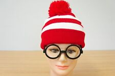 Red/White Stripe Wheres Wendy Waldo Wally Beanie & Glasses Costume Book Week