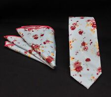 Tie Neck tie with Handkerchief Slim Blue / Multi Floral Quality Cotton MTA07