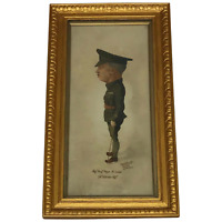 English School Rare Portrait Painting WW1 Military Sergeant Major Watercolour