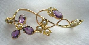 Stunning antique 15ct Rose Gold Amethyst & Seed Pearl brooch