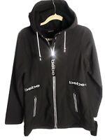 NWT * Women  Bebe Sport Full Zip Lined Hooded Fleece Active Jacket Black/White M