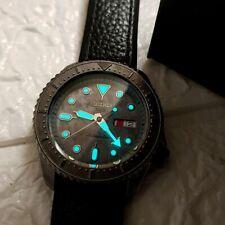 NEW Seiko 5 Sports 100M Automatic Grey Doomsday Men's Leather Strap Watch