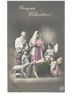 Postcard Christmas Nativity Scene w/ Manger Sheep Girl Angels Wings Studio RPPC
