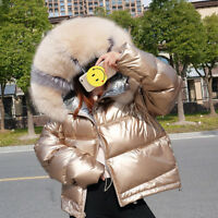 Womens 90% Duck Down Coat Big Real Fox Fur Parka Warm Jacket Winte Puffer Shiny