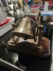 Victorian Antique Turned Oak and Cast Brass Bell, mid Century