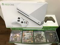 BRAND NEW  Sealed  Microsoft Xbox One S 500GB 4K  With 4 Games And Controller