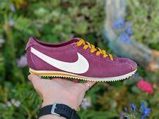 Nike Cortez UK 5.5 Púrpura & Mostaza entrenadores para mujeres Cuero De Gamuza Retro