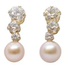 9ct Yellow Gold Fancy Three Small Round White CZ With Rose Pearl Drop Earrings