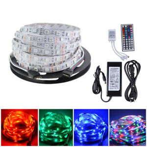 5M 5050 LED RGB Streifen Strip 300 LEDs Lichterkette Mit Fernbedienung 12V Trafo