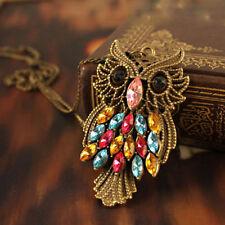 Retro Vintage Colorful Rhinestone Bronze Owl Pendant Necklace Long Chain Jewelry