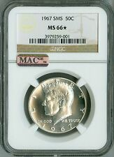 1967 SMS NGC MS66* STAR, MAC, JFK HALF KENNEDY 50c, SPOTLESS COIN BLAST WHITE!