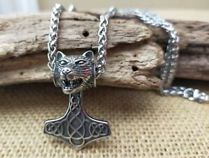Solid Stainless Steel Mjolnir Thors Hammer Wolfs Bear Head Pendant Necklace