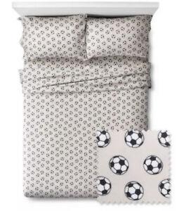 Pillowfort Twin Sports Soccer 3 Pc Sheet Set Gray Boys Football New