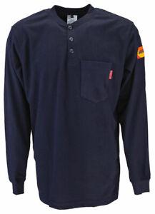 NEW Veratti® FR AR™ Henley Shirt 9.6 cal, CAT 2, Navy- Flame Resistant- F. Ship