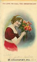 """Love to Call You Sweetheart"" in Logansport Indiana~Lady with Flowers~1919"