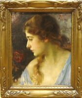 Large 1920 European School Portrait Of A Lady Signed Antique Oil Painting
