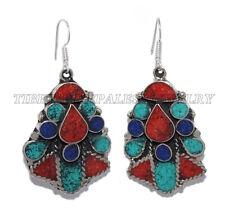Turquoise Earring Tribal Earring Coral Earring Tibetan Earring Silver Earring