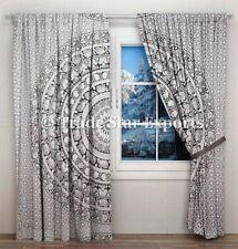 Ethnic Mandala Window Drapes Black & White Cotton Curtains Hippie Wall Panels