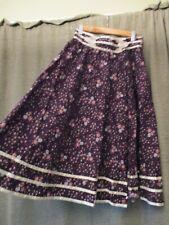 Vtg 1970 Jessica's Gunnies purple floral 100% cotton skirt wrap pockets lace S