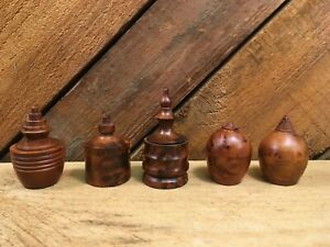 Carved Thuya Wood Trinket Boxes, Round Decorative Turned Wood Burl Dishes
