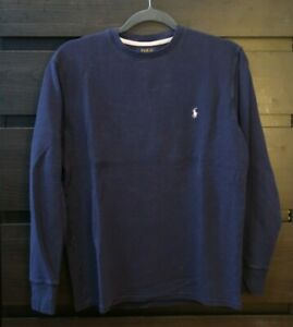 Polo Ralph Lauren Knitted Crew Neck Long Sleeve Shirt Navy Size Medium Fit Small