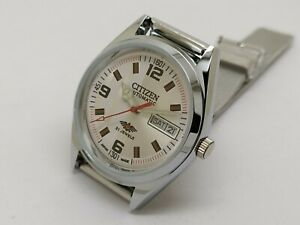 citizen automatic men's steel day/date 8200 vintage japan watch run order