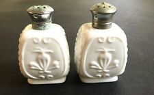 Vintage Milk Glass Salt & Pepper Shakers with Fleur-de-lis and Cross Patterns