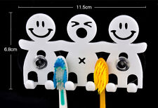1x Home Bathroom Wall Mount Smile Face Toothbrush Suction Cups Holder Stand CL
