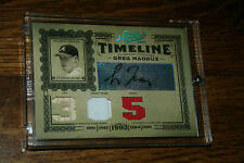 2005 Prime Cuts Timeline Material Numbers Greg Maddux Auto Jersey Patch Bat /10