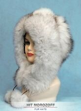 SAGA BLUE FOX Fur Eskimo White Hat Pom-Poms Winter Chapka Pelzmütze Fellmütze