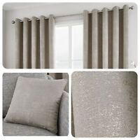 Curtina SOLENT Stone- Metallic Jacquard Eyelet Curtain / Cushions Collection