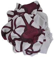 New Gucci Women's 367222 Grey Bordeaux Modal Wool Horsebit Logo Scarf Wrap