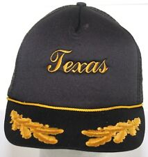Vintage TEXAS Trucker Hat - Laurel Leaf Brim - Snapback Cap - Black   Yellow 847ed0a59cd6