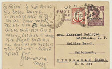 PAKISTAN OVERPRINT ON 1/2a INDIA KGVI POST CARD USED (3 scans).