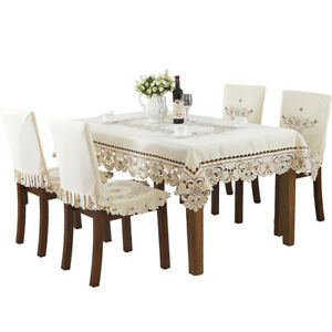 Pastoral Style Embroidered Tablecloth Table Cloth Lace Dining Table Cover Decor