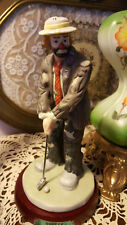 "Flambro The Emmett Kelly Jr. Collection The Golfer 9"" w/ Wood Base"