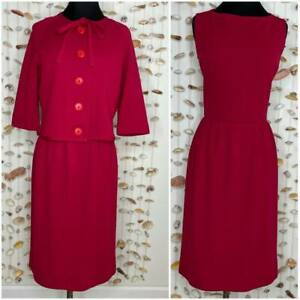Sleeveless Dress Suit With Jacket Set Red Vintage Wool Blend Knit 60s Vintage