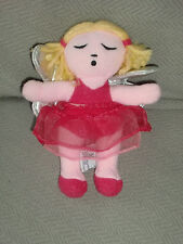 BABY GAP STUFFED PLUSH GIRL ANGEL DOLL SILVER WINGS PINK LEOTARD TUTU SOUND