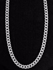 Men's Silver Plated Diamond Cut Solid Curb Cuban Link Chain