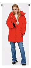 PULL AND BEAR Oversized Red Puffer Jacket Coat Size S
