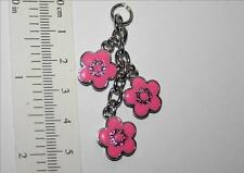 ENAMEL PINK DAISY silver colour  60s flower hanging charm chain split ring  (AE