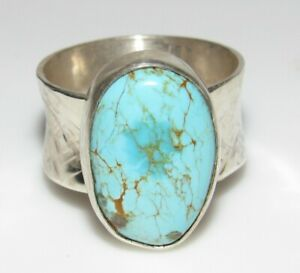 Navajo Dry Creek Turquoise Ring Size 10 Sterling Silver Native American