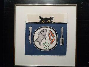 Framed Fine Cat Art Jane Tamako Raffeld Batik Cloth Original 1984 Austin Texas