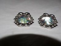 Vintage Taxco A.GARCIA ABALONE inlay Earrings sterling Silver HALLMARKED .925