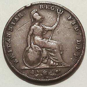 🇬🇧 Britain 1839 Farthing Coin DETAILED Queen Victoria Antique Copper Coin 1/4d