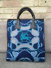 4c7f04a43689 Burberry Prorsum silk leather black blue grey logo crest printed tote bag