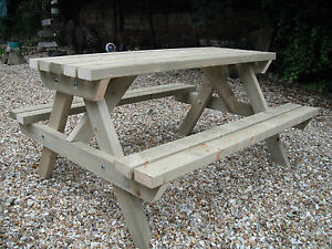 Wooden Picnic Table Bench Pub Garden Outdoor Green Treated